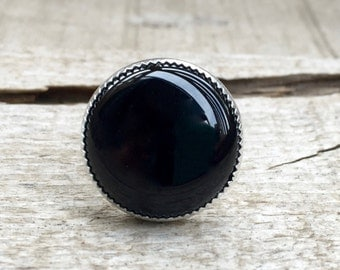 Round Chic Minimalist Black Onyx Ring in Serrated Bezel Setting