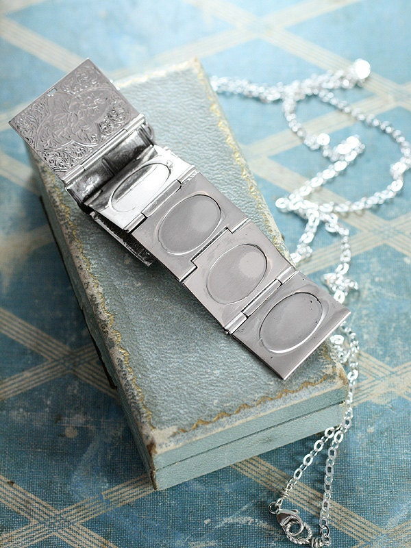 Sterling silver book locket necklace rare rectangular four photo t f o r e d g a r aloadofball Gallery