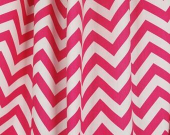 Pink White Zig Zag Chevron Fabric