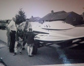 VERNACULAR SNAPSHOT: 1960s Family pose with their HYDROPLANE Race Boat.. Free ship usa
