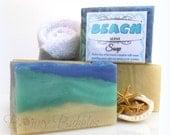 BEACH Soap - with fresh cream, honey, mango butter and silk - handmade by Bonny Bubbles - hot process