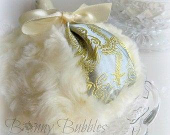 Butter Cream Powder Puff - silver and gold satin brocade powderpuff - grande pouf creme - by BonnyBubbles - gift box option