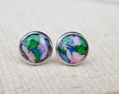 Real Flower Earring Studs - Jewelry Posts, silver earrings, women, resin cabochon