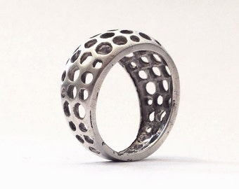 Vintage Inspired Mid-Century Modern Dome plant cellular structure statement Ring - Sterling Silver