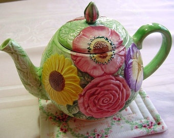"""Floral Teapot -Seymour Mann """"Field Garden"""" -Pink Roses, Purple Pansy, Yellow Sunflower - Hand Painted Ceramic Pottery Home Decor"""