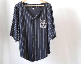 vintage 90s BASEBALL style black & GOLD striped pinstripe OTOMIX athletic wear