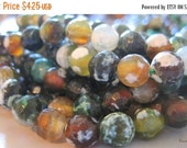 """20% OFF ON SALE Green Fire Agate Faceted Round 8mm Beads, 8"""" long, 24 pcs, Gemstone Beads"""