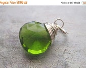 20% OFF ON SALE Peridot Green Quartz Sterling Silver Wire Wrapped Briolette Dangle, 1 pc, Gemstone Beads