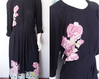 Vtg.80s Navy Blue Mauve Gardenia Floral Print Rayon Maxi Dress.Size;M/L.Bust up to 42.Waist 28-34.