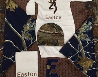 Real tree mossy oak navy blue baby boy personalized gift set 4 piece- blanket, layette, burp cloth, and hat