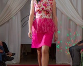 Peplum floral dress with lace