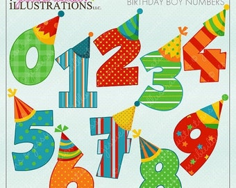 SALE Birthday Boy Numbers Cute Digital Clipart for Card Design, Scrapbooking, and Web Design