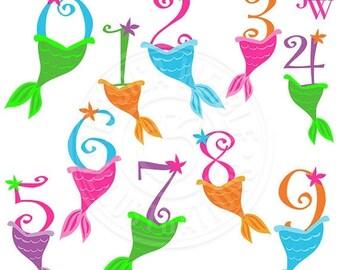 SALE Mermaid Numbers Cute Digital Clipart, Numbers with Mermaid Tails, Cute Mermaid Birthday Numbers, Mermaid Clip Art, Mermaid Graphics