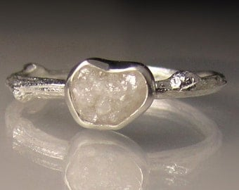 White Raw Diamond Engagement Ring, Rough Diamond Twig Ring