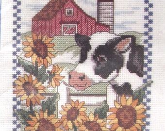 Cow and Sunflowers Counted Cross Stitch Kit with Frame, Vintage Unused DIY Project