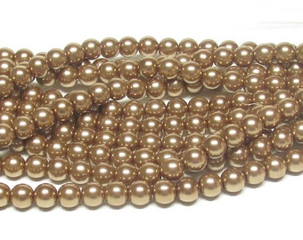 8mm Copper Glass Pearls - 16 inch strand of 8mm glass pearls - copper