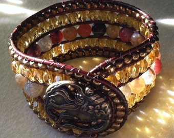 Agate and Amber Beaded Leather Cuff Bracelet
