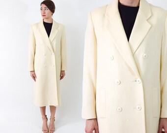 90s Winter White Coat | Ivory Long Wool Coat, Large