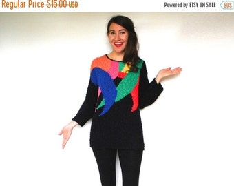 SummerS SALE 80s Colorful Black Sweater Knit Sweater, Large