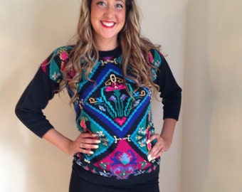 80s novelty sweater / graphic print/ gold pink black turquoise green/ mlti colored/size large holiday