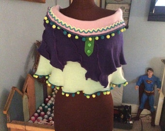 Beautiful Hand Crafted Pixie Fairy Shawl Poncho made from Recycled, Repurposed Cashmere Sweaters