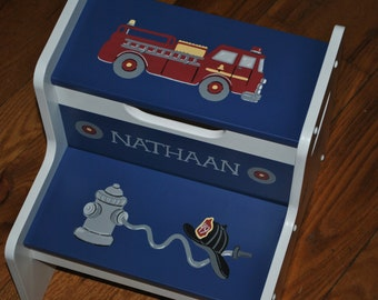 Kids Personalized 2 Step Stool - Fire Truck - Fire Engine - Nursery - Children's Step Stoll - Baby Gift - Shower Gift