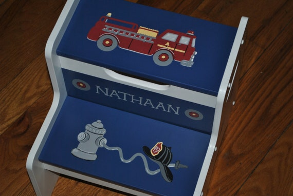 Kids Personalized 2 Step Stool Fire Truck Fire Engine