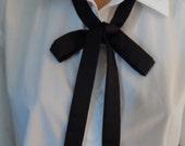 "Black Silk Skinny Scarf,  1"" x 56"" ,  SALE PRICE   ,  Scarf, Unisex Skinny Western Tie, School Girl Skinny Tie, Ladies Necktie,"