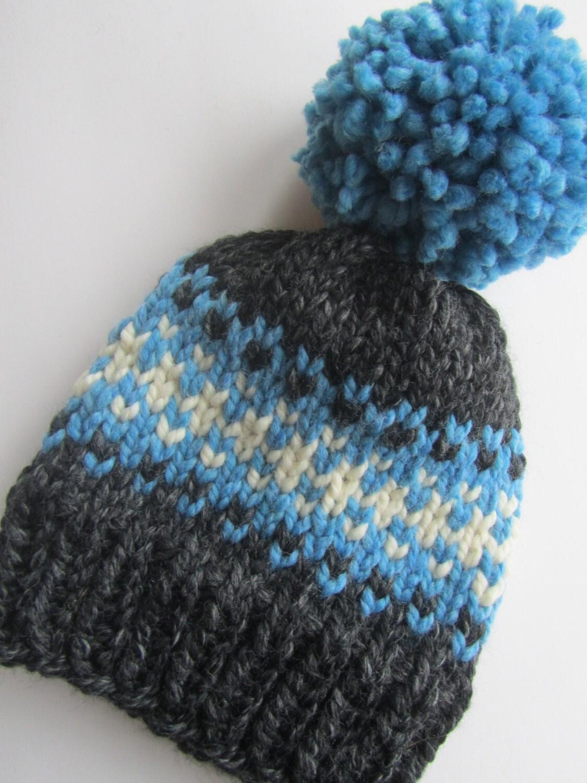 Fair Isle Knitting Hat : Grey and blue fair isle knit hat