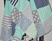 Baby Infant Toddler Gender Neutral , Patchwork 30x35 CNautical Crib Blanket, Seafoam Green, Navy Blue and  Grey Gray