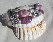 "Fuchsia Agate, Rose Quartz & Lilac Pearl Crystal Gemstone Bracelet ""Truly Scrumptious"", Pink Bracelet, Pearl Bracelet, Chakra Bracelet"