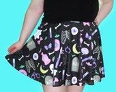 Black Creepy Party Skater Skirt