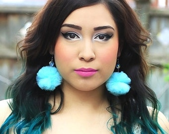 Turquoise Tulle Pompom Earrings