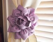 STARS and STRIPES SALE Two Dahlia Flower Curtain Tie Backs Curtain Tiebacks Curtain Holdback -Drapery Tieback-Baby Nursery Decor-Lilac Decor