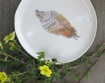 Ceramic Woodland Feather Hand Drawn Fine Art Plate One of a Kind Gift Idea Home Decor, Handmade Artisan Pottery by Licia Lucas Pfadt