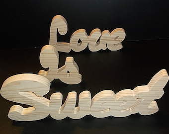 30% Off!  Love Is Sweet Sign Unfinished Stand Alone LIS-3-.75-5-LC-SA