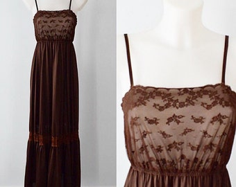 Sale..Vintage Nightgown, 1970s Nightgown, Chocolate Brown Nightgown, Lace,Summer, Brown, Nightgown, Vintage Nightgown, Lingerie
