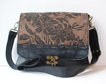 "Leather Messenger Bag , medium, cross body, Espresso, WildflowerPrint ,"" the uptown"""