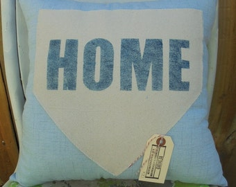 Light Blue Home Plate Pillow