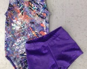 Ready to ship.... Gymnastics Leotard And shorts,any size from XXXS 2T to child XL 10 (adult petite 10).