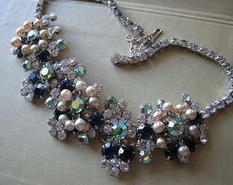 Pearl crystal necklace | statement choker | vintage | floral