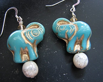 Turquoise earrings silver | gold | blue elephant | glass earrings | sterling silver  | circus elephant
