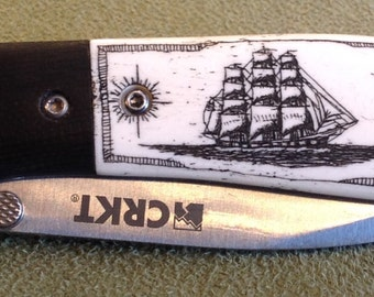 Knife-Stag Bone-Original Scrimshaw-Tall Ship