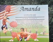 """Personalized Your Child's NAME MEANING GIFT """" Girls  cheerleading """"  8.5 X 11 Ships in 24hrs"""