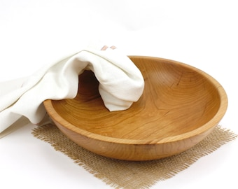 Wooden Shallow Cherry Salad Bowl, Fruit Bowl, Pasts Bowl