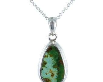 "Persian Turquoise Pendant Green Teardrop Necklace 16"""