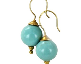 18k Gold Chinese Turquoise Earrings 13.5mm Round