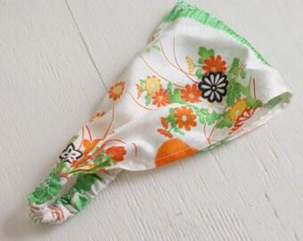 Vintage Kimono Headband, Japanese flower, Green, Orange, Gift for her, Spring headband, floral headwrap, beach headwrap, silk headwrap