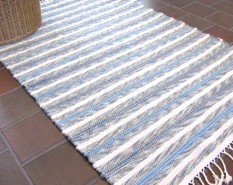 Rustic French Country Home Decor Rug, Farmhouse Decor, Coastal Beach Decor, Shaker Decor, Hand Woven Wool Blue White Small Rug, Zen Yoga Mat