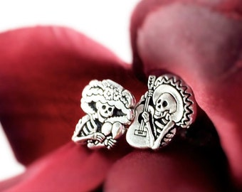 Day of the Dead Earring Studs - Sterling Silver Sugar Skull Earrings -Dia De Los Muertos Mismatched Stud Earrings - Skull Stud Men Women
